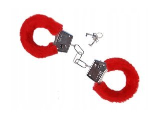 Kajdanki z futerkiem - czerwone